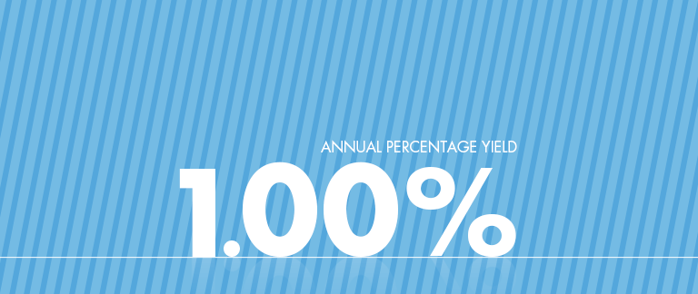Annual percentage yield is 1 percent