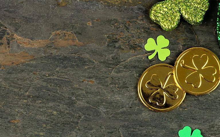 Green hat, gold coins, clovers
