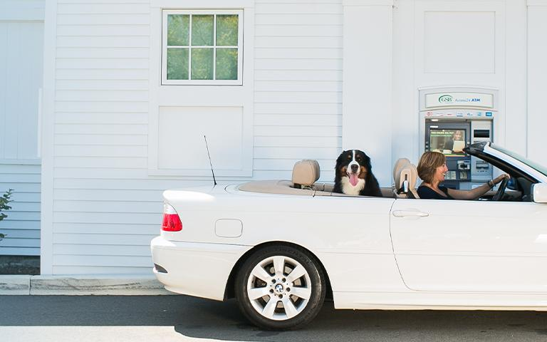 Woman and dog in car